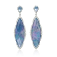 1.76ct Doves Diamond, White Topaz, Lapis Lazuli and Mother of Pearl 18k White Gold Dangle Earrings
