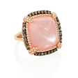 1.46ct Diamond, Rose Quartz and Mother of Pearl 18k Rose Gold and Black Rhodium Ring