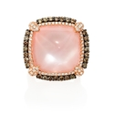 Diamond, Rose Quartz and Mother of Pearl 18k Rose Gold and Black Rhodium Ring