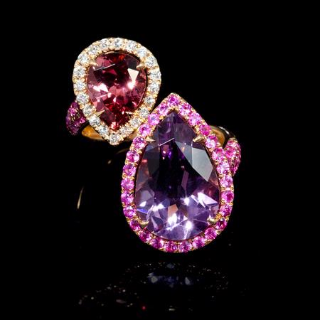 Diamond, Pink Sapphire, Pink Toumaline and Purple Amethyst 18k Rose Gold Ring