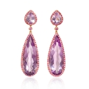 Pink Sapphire and Purple Amethyst 18k Rose Gold Dangle Earrings