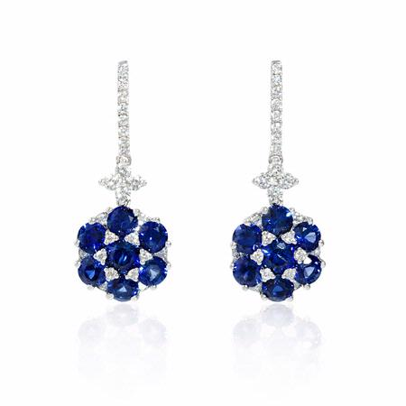 .56ct Diamond and Blue Sapphire 18k White Gold Dangle Earrings
