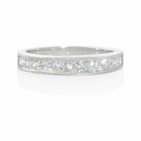 .74ct Diamond Antique Style 18k White Gold Wedding Band Ring