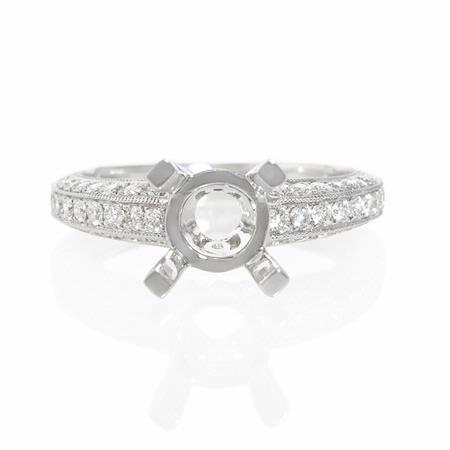 .70ct Diamond Antique Style 18k White Gold Engagement Ring Setting