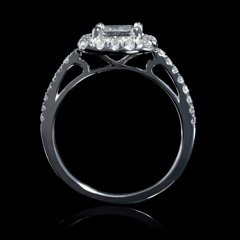 46ct platinum halo engagement ring setting