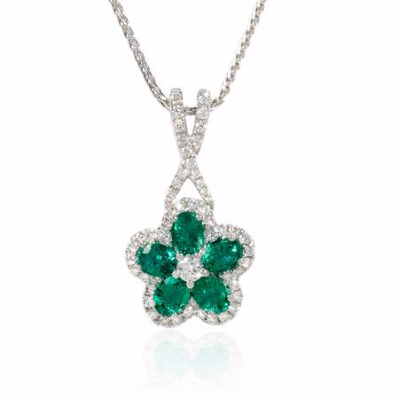 .42ct Diamond and Emerald 18k White Gold Flower Pendant