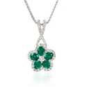 Diamond and Emerald 18k White Gold Flower Pendant