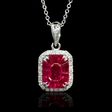 .12ct Diamond and Ruby 18k White Gold Pendant Necklace