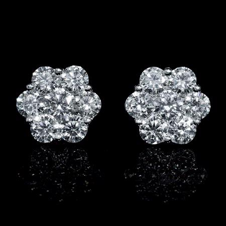 1.34ct Diamond 18k White Gold Cluster Earrings