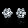 3.03ct Diamond 18k White Gold Cluster Earrings