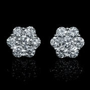 Diamond 18k White Gold Cluster Earrings