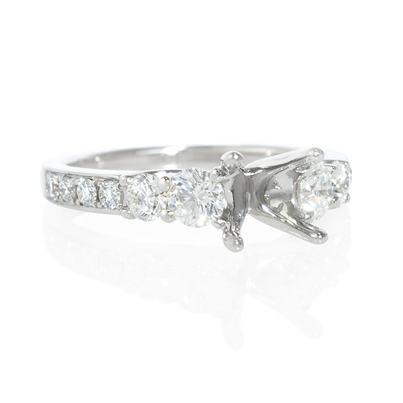 76ct Diamond Platinum Engagement Ring Setting