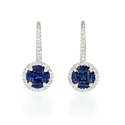 Diamond and Blue Sapphire 14k White Gold Dangle Earrings