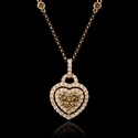 Diamond 18k Rose Gold Heart Pendant