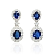 .45ct Diamond and Blue Sapphire 18k White Gold Dangle Earrings