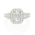 Diamond Antique Style 18k White Gold Halo Engagement Ring