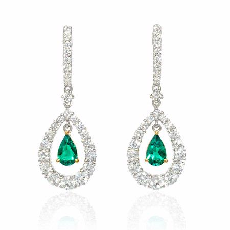 Diamond and Emerald 18k Two Tone Gold Dangle Earrings
