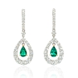 2.82ct Diamond and Emerald 18k Two Tone Gold Dangle Earrings