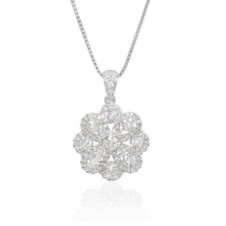 Diamond 18k White Gold Flower Cluster Pendant