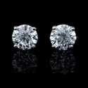 Diamond 3.10 Carats 14k White Gold Stud Earrings