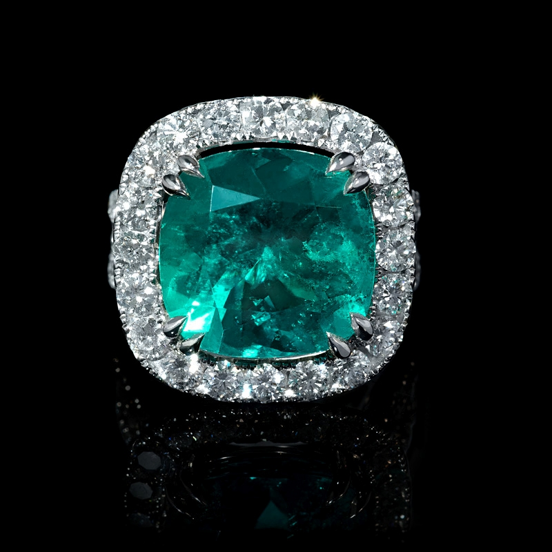 2 46ct Diamond And Gia Certified Colombian Emerald 18k White Gold Ring