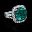 2.46ct Diamond and GIA Certified Colombian Emerald 18k White Gold Ring