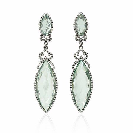 Diamond and Green Amethyst 18k White Gold and Black Rhodium Dangle Earrings
