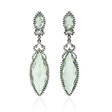 .75ct Diamond and Green Amethyst 18k White Gold and Black Rhodium Dangle Earrings