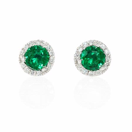 Diamond and Green Corundum 14k White Gold Earrings