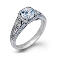 .36ct Simon G Diamond Antique Style 18k White Gold Halo Engagement Ring Setting
