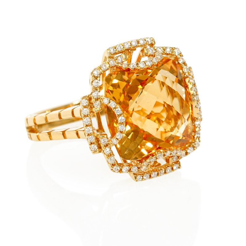 33ct and citrine 18k yellow gold ring