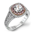 1.00ct Simon G Diamond 18k Two Tone Gold Double Halo Engagement Ring Setting