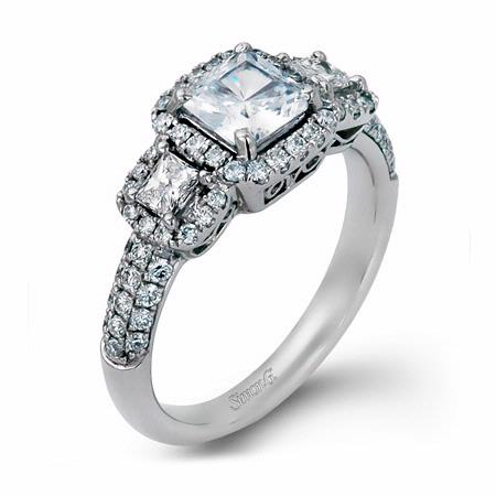 .83ct Simon G Diamond 18k White Gold Halo Engagement Ring Setting