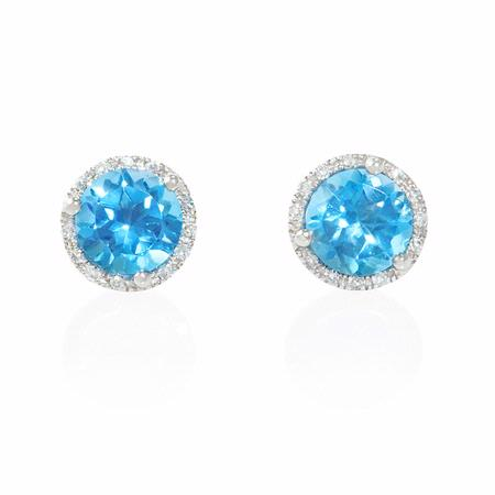 Diamond and Blue Topaz 14k White Gold Earrings
