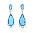 .83ct Diamond and Blue Topaz 18k White Gold Dangle Earrings