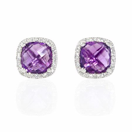 Diamond and Purple Amethyst 14k White Gold Earrings