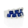.58ct Diamond and Blue Sapphire 18k White Gold Ring