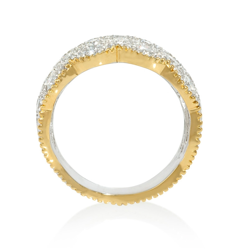 1 55ct antique style 18k two tone gold wave ring