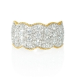 1.55ct Diamond Antique Style 18k Two Tone Gold Wave Ring