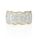 Diamond Antique Style 18k Two Tone Gold Wave Ring