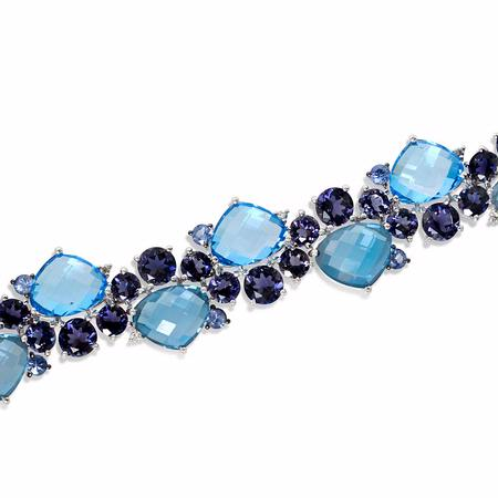 Diamond, Blue Sapphire, Tanzanite and Blue Topaz 18k White Gold Bracelet