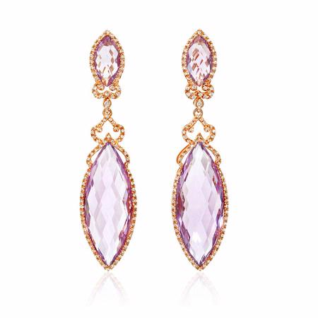 Diamond and Pink Amethyst 18k Rose Gold Dangle Earrings