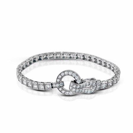 Simon G Diamond Antique Style 18k White Gold Bracelet