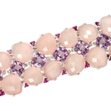 Diamond, Pink Sapphire, Pink Amethyst and Rose Quartz 18k White Gold Bracelet