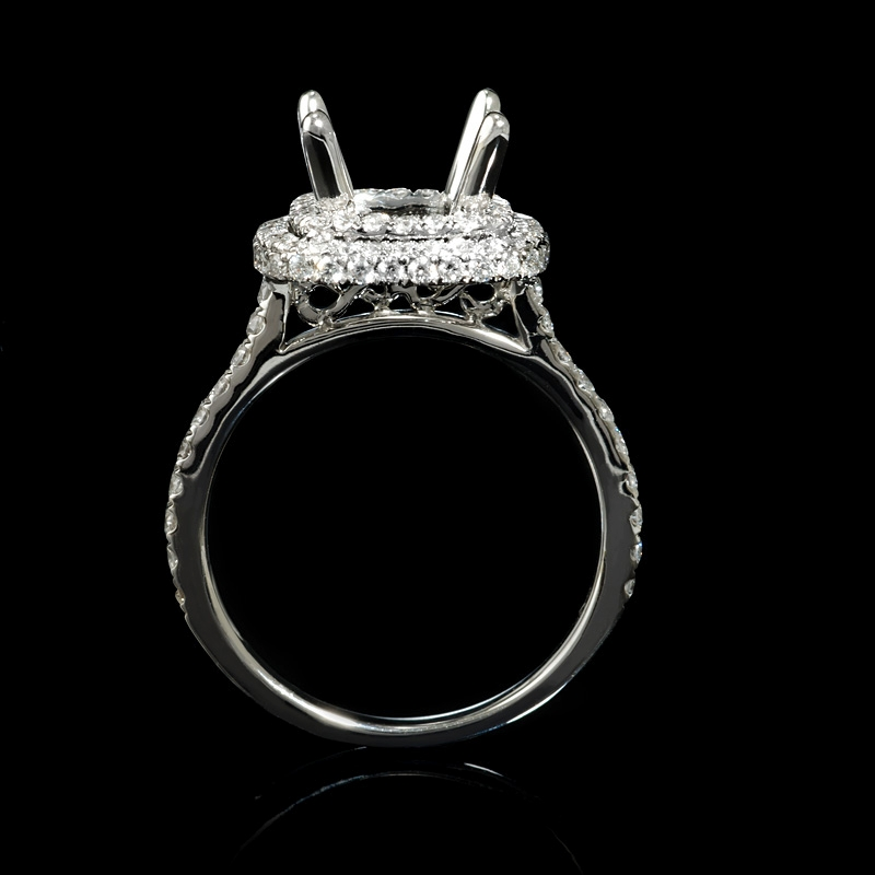 67ct Diamond 18k White Gold Double Halo Engagement Ring Setting