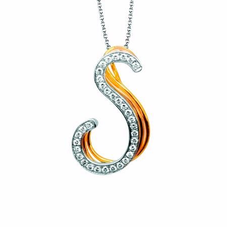 Simon G Diamond 18k Three Tone Gold S Initial Pendant Necklace