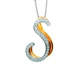.12ct Simon G Diamond 18k Three Tone Gold S Initial Pendant Necklace