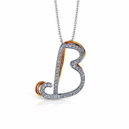 Simon G Diamond 18k Three Tone Gold B Initial Pendant Necklace