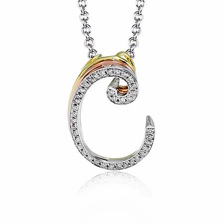 Simon G Diamond 18k Three Tone Gold C Initial Pendant Necklace