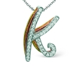 .10ct Simon G Diamond 18k Three Tone Gold K Initial Pendant Necklace